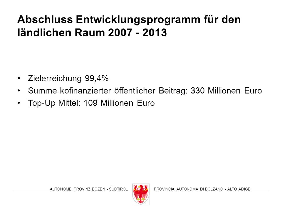AUTONOME PROVINZ BOZEN - SÜDTIROLPROVINCIA AUTONOMA DI BOLZANO - ALTO ADIGE Abschluss Entwicklungsprogramm für den ländlichen Raum 2007 - 2013 Zielerreichung 99,4% Summe kofinanzierter öffentlicher Beitrag: 330 Millionen Euro Top-Up Mittel: 109 Millionen Euro
