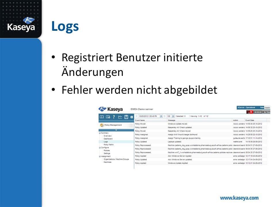 Logs Registriert Benutzer initierte Änderungen Fehler werden nicht abgebildet