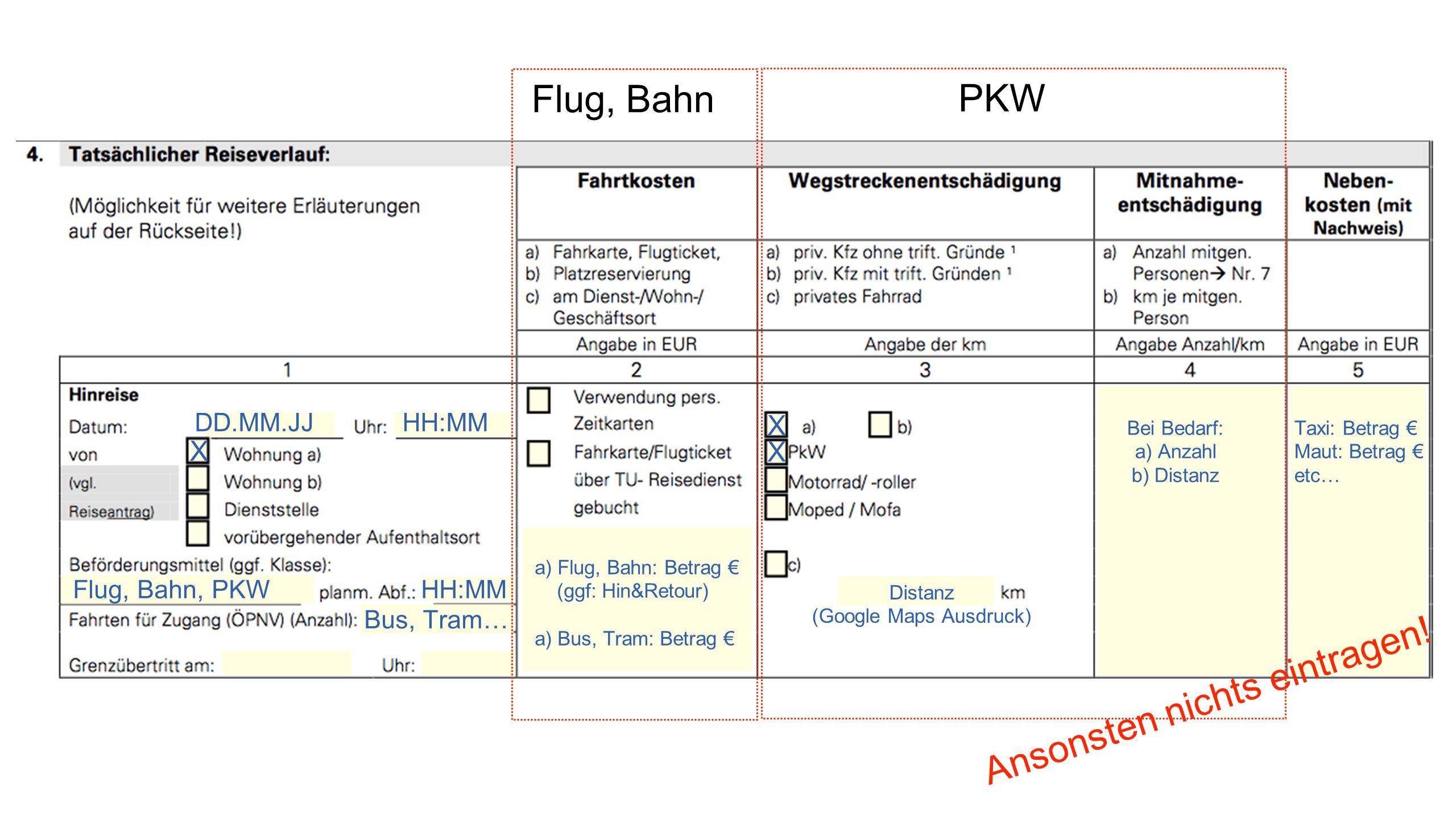 PKW DD.MM.JJHH:MM X Flug, Bahn, PKWHH:MM Bus, Tram… Flug, Bahn a) Flug, Bahn: Betrag € (ggf: Hin&Retour) a) Bus, Tram: Betrag € X X Distanz (Google Maps Ausdruck) Bei Bedarf: a) Anzahl b) Distanz Taxi: Betrag € Maut: Betrag € etc… Ansonsten nichts eintragen!