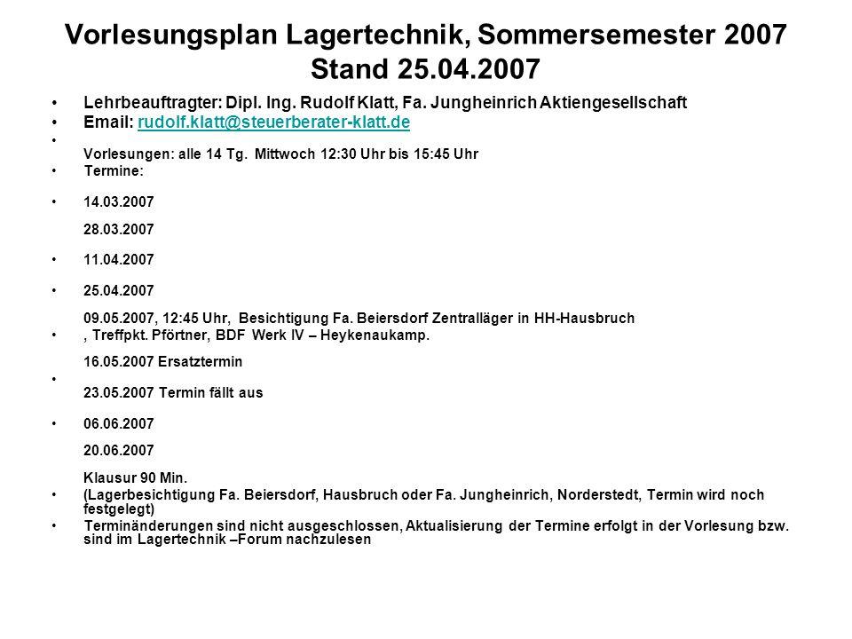 Vorlesungsplan Lagertechnik, Sommersemester 2007 Stand 25.04.2007 Lehrbeauftragter: Dipl.