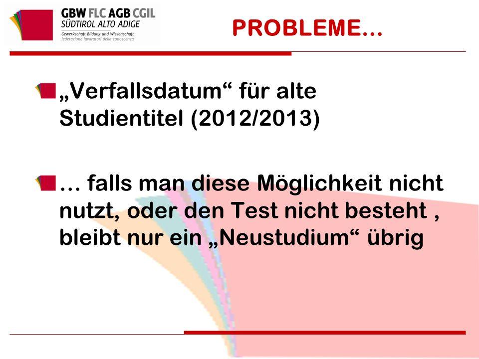 """PROBLEME… """"Verfallsdatum für alte Studientitel (2012/2013) … falls man diese Möglichkeit nicht nutzt, oder den Test nicht besteht, bleibt nur ein """"Neustudium übrig"""