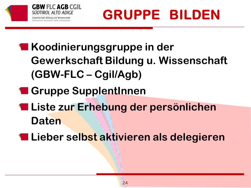 GRUPPE BILDEN Koodinierungsgruppe in der Gewerkschaft Bildung u.