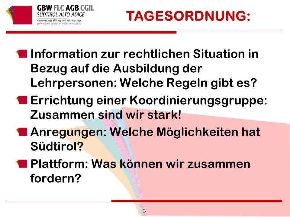 3 Information zur rechtlichen Situation in Bezug auf die Ausbildung der Lehrpersonen: Welche Regeln gibt es.