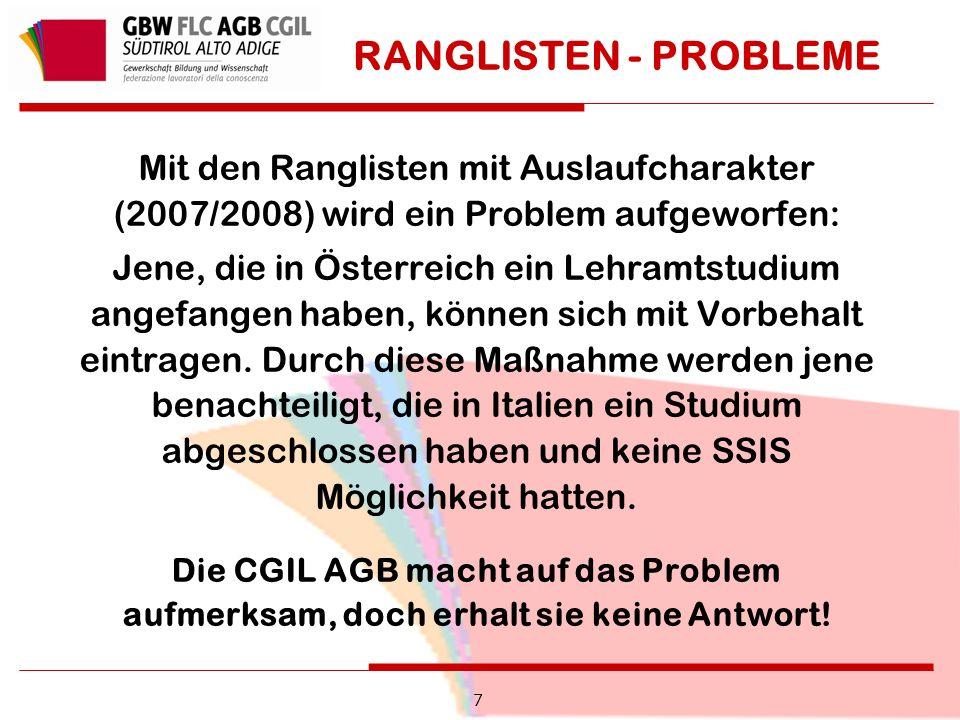RANGLISTEN - PROBLEME Mit den Ranglisten mit Auslaufcharakter (2007/2008) wird ein Problem aufgeworfen: Jene, die in Österreich ein Lehramtstudium angefangen haben, können sich mit Vorbehalt eintragen.
