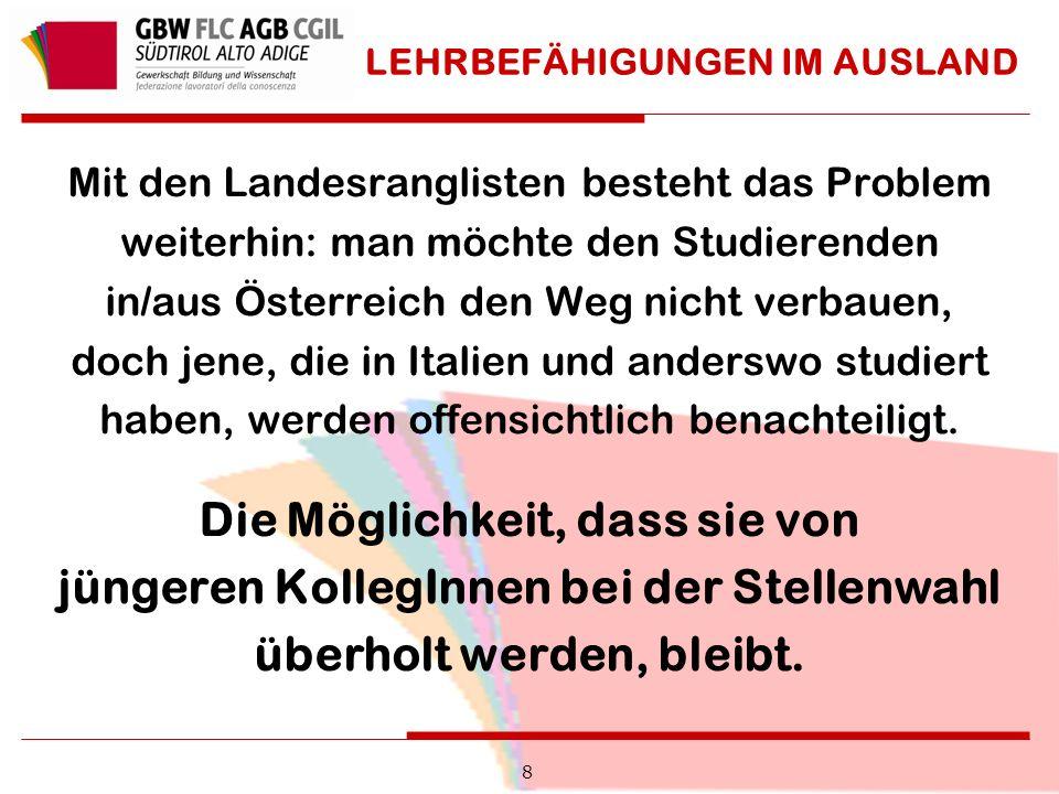 LEHRBEFÄHIGUNGEN IM AUSLAND Mit den Landesranglisten besteht das Problem weiterhin: man möchte den Studierenden in/aus Österreich den Weg nicht verbauen, doch jene, die in Italien und anderswo studiert haben, werden offensichtlich benachteiligt.
