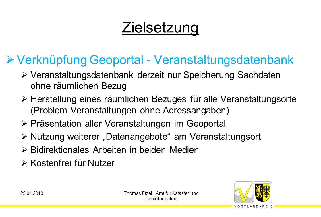 25.04.2013Thomas Etzel - Amt für Kataster und Geoinformation Georeferenz der Veranstaltungsorte  AdressCoding der ca.