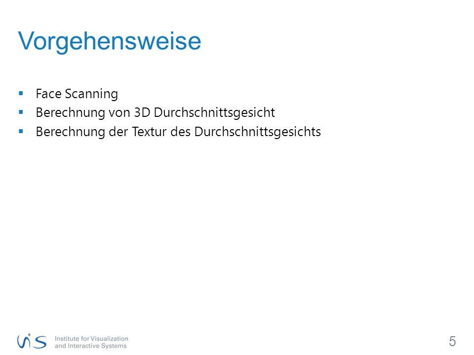  Face Scanning  Berechnung von 3D Durchschnittsgesicht  Berechnung der Textur des Durchschnittsgesichts 5 Vorgehensweise