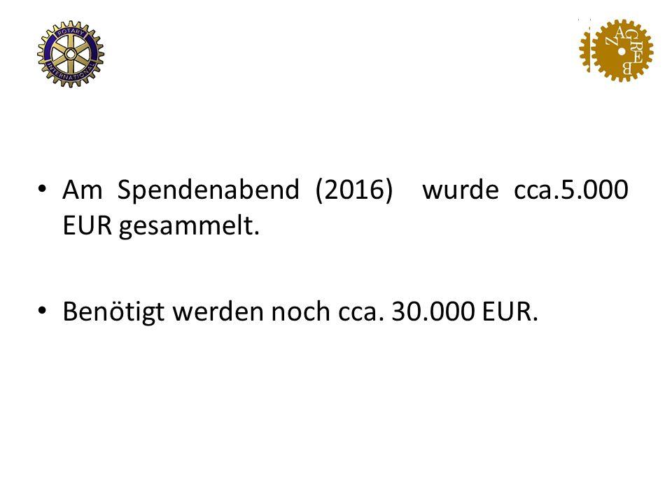 Am Spendenabend (2016) wurde cca.5.000 EUR gesammelt. Benötigt werden noch cca. 30.000 EUR.