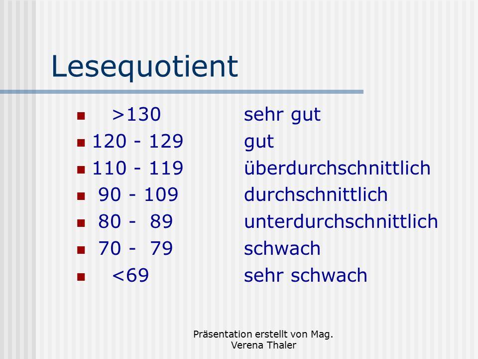 Präsentation erstellt von Mag. Verena Thaler Lesequotient >130sehr gut 120 - 129gut 110 - 119überdurchschnittlich 90 - 109durchschnittlich 80 - 89unte