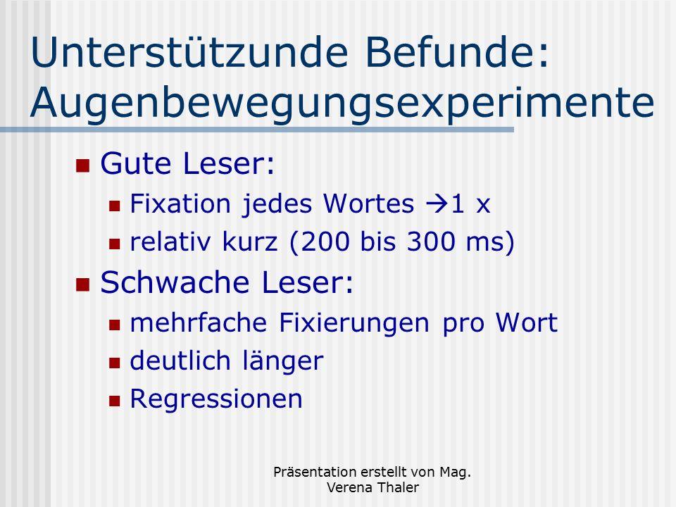 Präsentation erstellt von Mag. Verena Thaler Unterstützunde Befunde: Augenbewegungsexperimente Gute Leser: Fixation jedes Wortes  1 x relativ kurz (2
