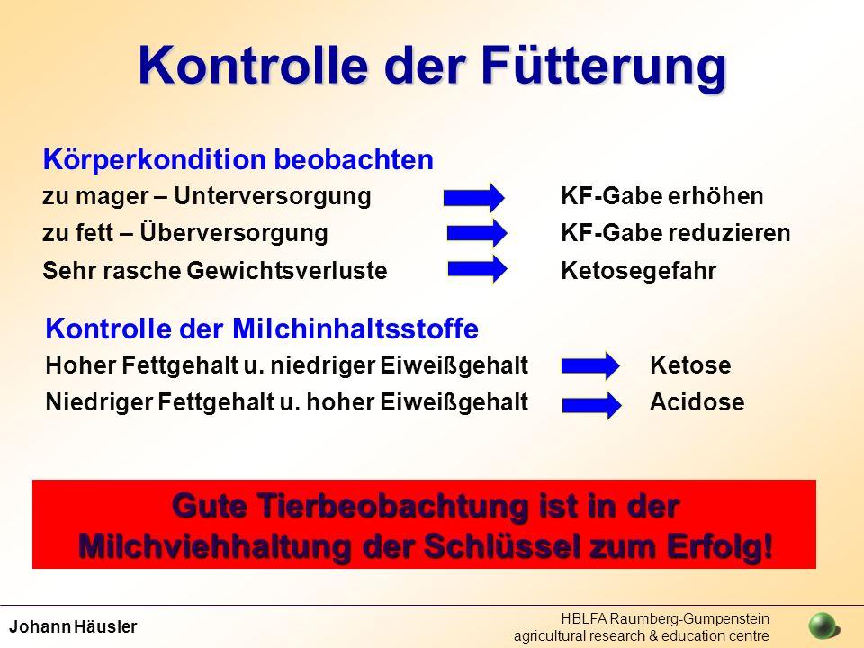 Johann Häusler HBLFA Raumberg-Gumpenstein agricultural research & education centre Kontrolle der Fütterung Körperkondition beobachten zu mager – Unter