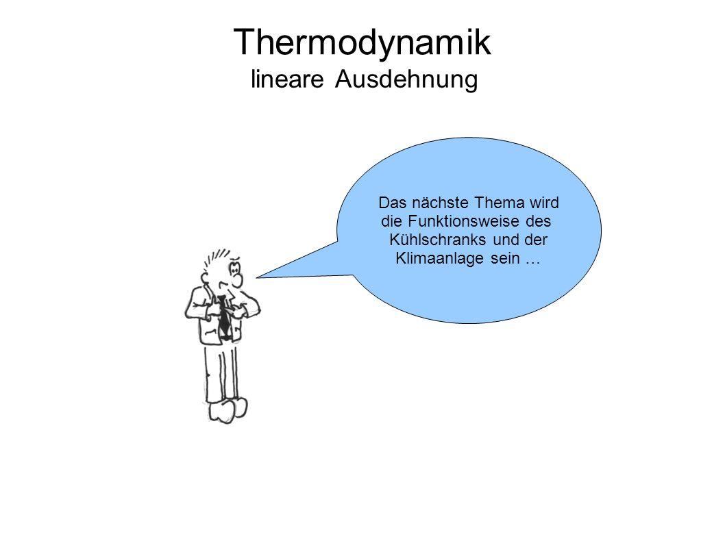 Thermodynamik lineare Ausdehnung Das nächste Thema wird die Funktionsweise des Kühlschranks und der Klimaanlage sein …