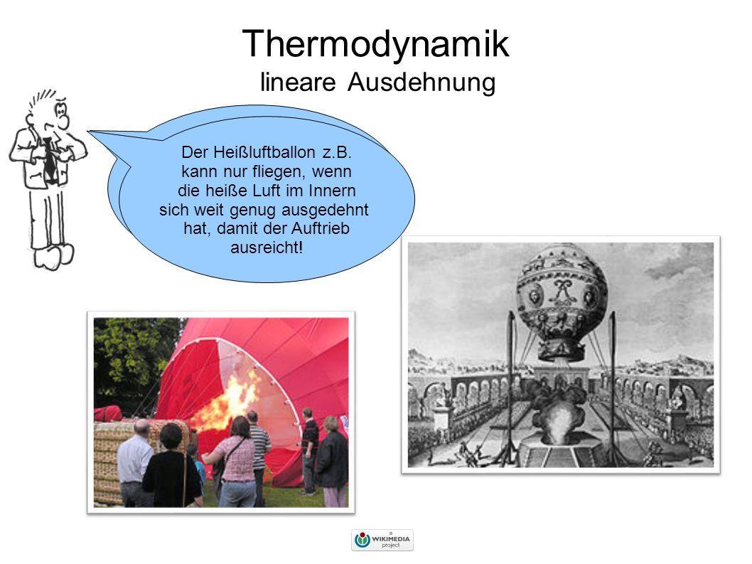 Thermodynamik lineare Ausdehnung Wir wissen bereits, dass sich Stoffe bei Erwärmung ausdehnen.