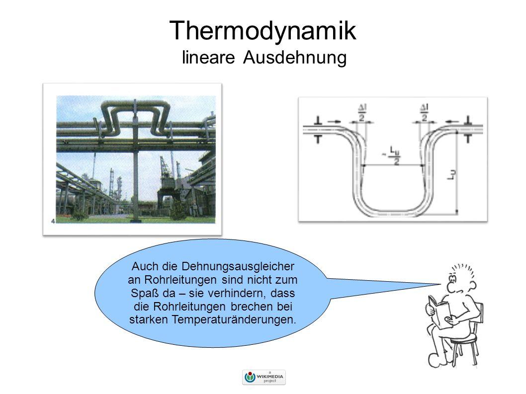 Thermodynamik lineare Ausdehnung Auch die Dehnungsausgleicher an Rohrleitungen sind nicht zum Spaß da – sie verhindern, dass die Rohrleitungen brechen bei starken Temperaturänderungen.