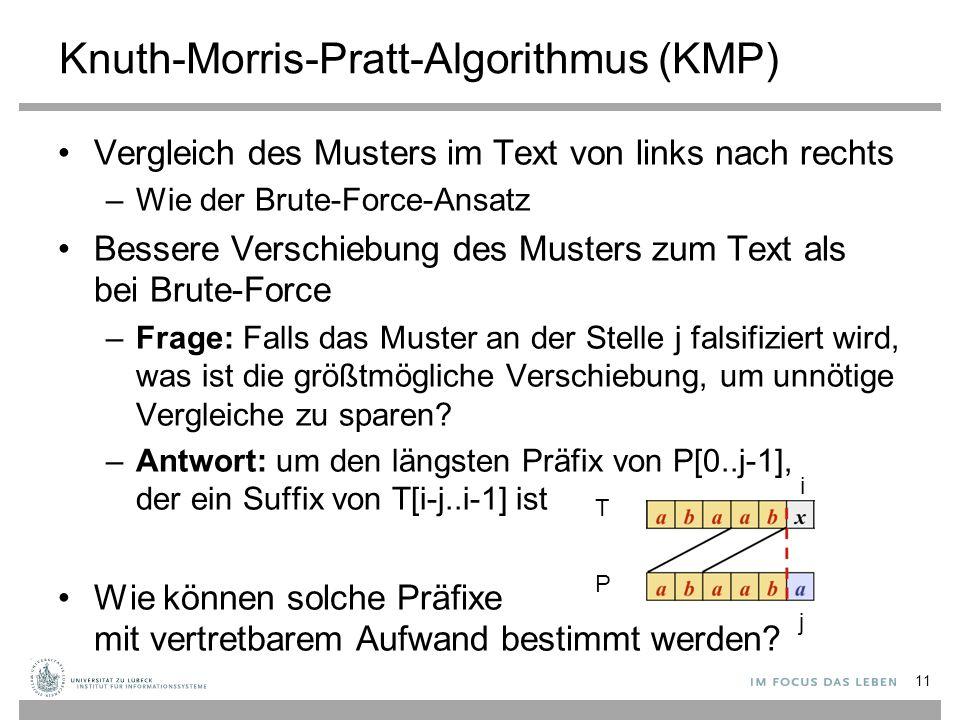 Knuth-Morris-Pratt-Algorithmus (KMP) Vergleich des Musters im Text von links nach rechts –Wie der Brute-Force-Ansatz Bessere Verschiebung des Musters zum Text als bei Brute-Force –Frage: Falls das Muster an der Stelle j falsifiziert wird, was ist die größtmögliche Verschiebung, um unnötige Vergleiche zu sparen.