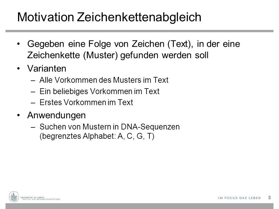 Motivation Zeichenkettenabgleich Gegeben eine Folge von Zeichen (Text), in der eine Zeichenkette (Muster) gefunden werden soll Varianten –Alle Vorkommen des Musters im Text –Ein beliebiges Vorkommen im Text –Erstes Vorkommen im Text Anwendungen –Suchen von Mustern in DNA-Sequenzen (begrenztes Alphabet: A, C, G, T) 3