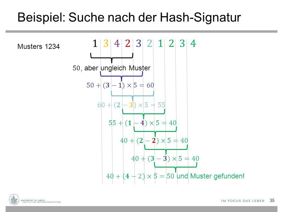 Beispiel: Suche nach der Hash-Signatur 35 Musters 1234