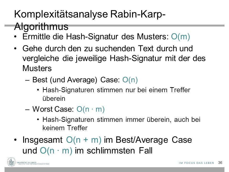Komplexitätsanalyse Rabin-Karp- Algorithmus Ermittle die Hash-Signatur des Musters: O(m) Gehe durch den zu suchenden Text durch und vergleiche die jeweilige Hash-Signatur mit der des Musters –Best (und Average) Case: O(n) Hash-Signaturen stimmen nur bei einem Treffer überein –Worst Case: O(n ∙ m) Hash-Signaturen stimmen immer überein, auch bei keinem Treffer Insgesamt O(n + m) im Best/Average Case und O(n ∙ m) im schlimmsten Fall 36