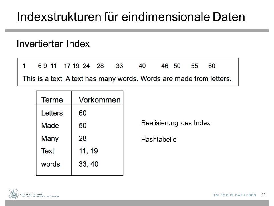 Indexstrukturen für eindimensionale Daten Invertierter Index 41 Realisierung des Index: Hashtabelle