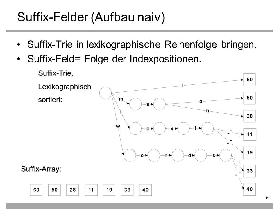 Suffix-Felder (Aufbau naiv) Suffix-Trie in lexikographische Reihenfolge bringen.