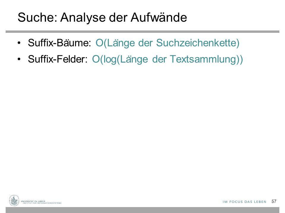 Suche: Analyse der Aufwände Suffix-Ba ̈ ume: O(La ̈ nge der Suchzeichenkette) Suffix-Felder: O(log(La ̈ nge der Textsammlung)) 57