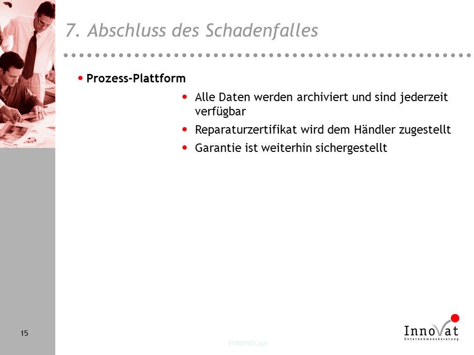 0100076ZU.ppt 15 Prozess-Plattform Alle Daten werden archiviert und sind jederzeit verfügbar Reparaturzertifikat wird dem Händler zugestellt Garantie ist weiterhin sichergestellt 7.