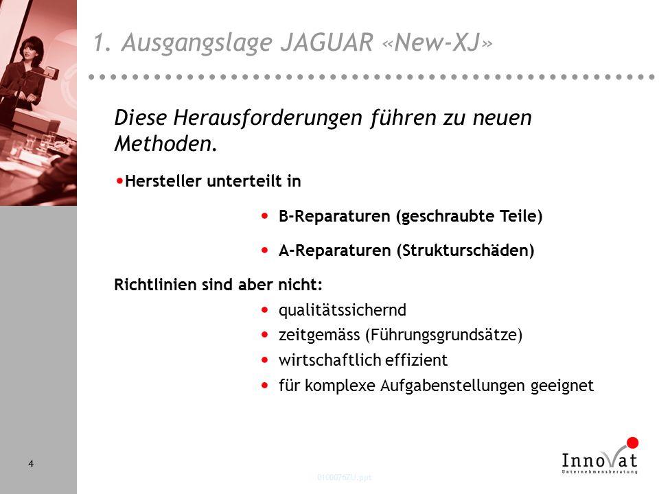 0100076ZU.ppt 4 1. Ausgangslage JAGUAR «New-XJ» Diese Herausforderungen führen zu neuen Methoden.