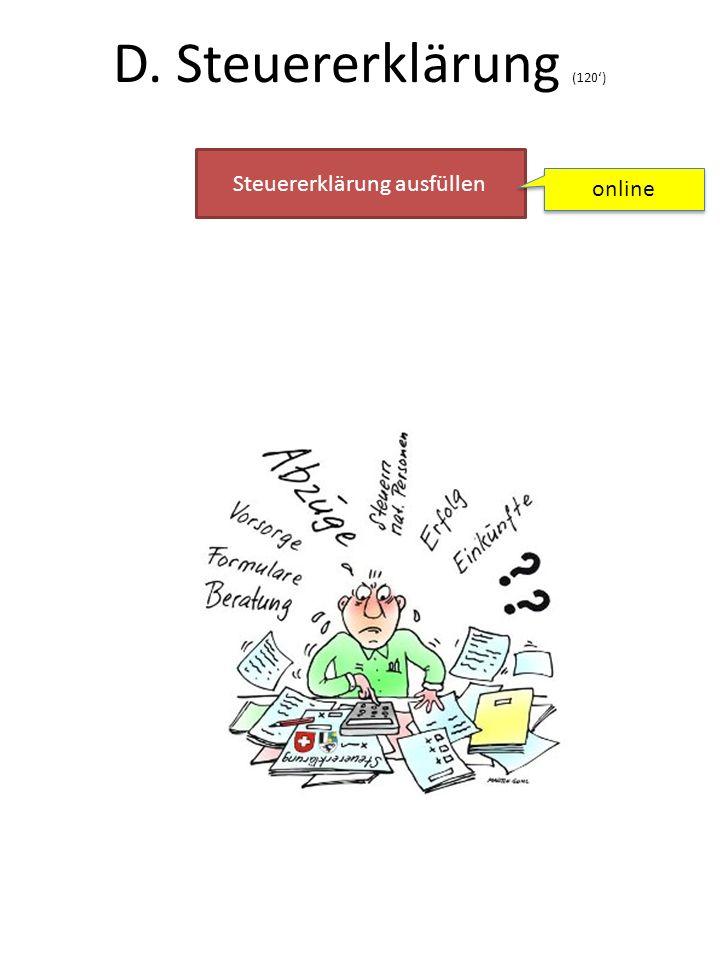 D. Steuererklärung (120') Steuererklärung ausfüllen online