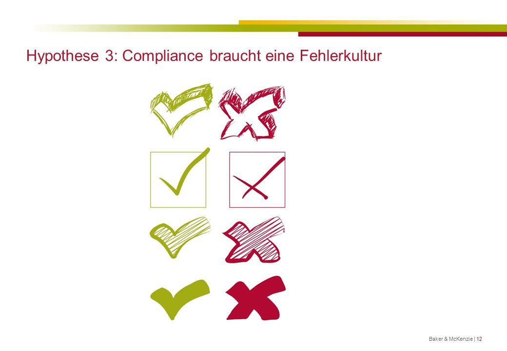 Hypothese 3: Compliance braucht eine Fehlerkultur Baker & McKenzie | 12