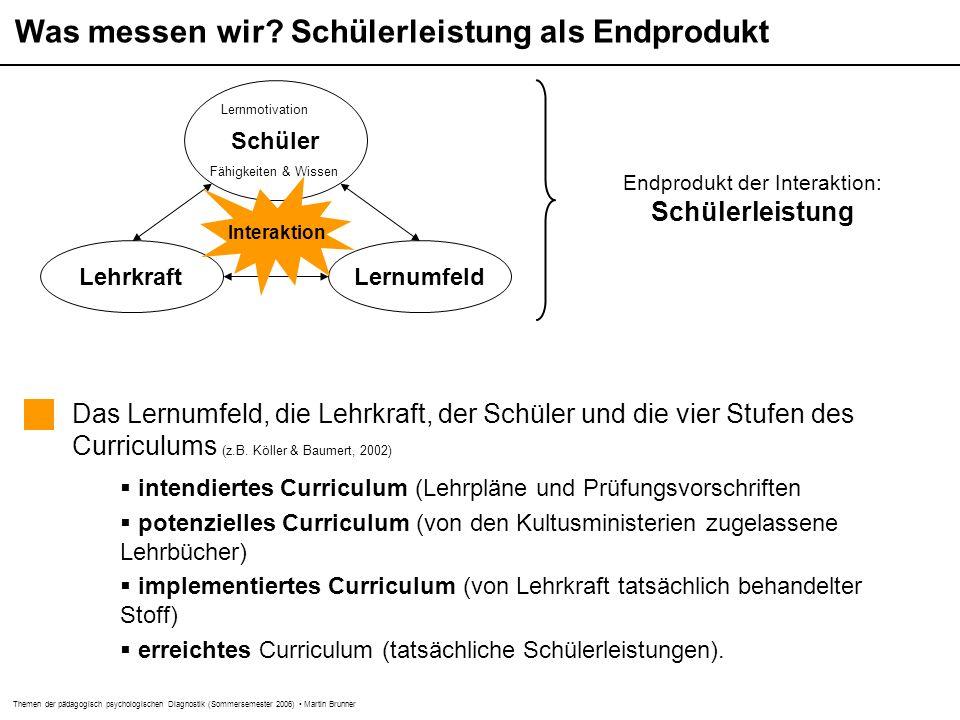 Themen der pädagogisch psychologischen Diagnostik (Sommersemester 2006) Martin Brunner Leistungspotenzial vs.