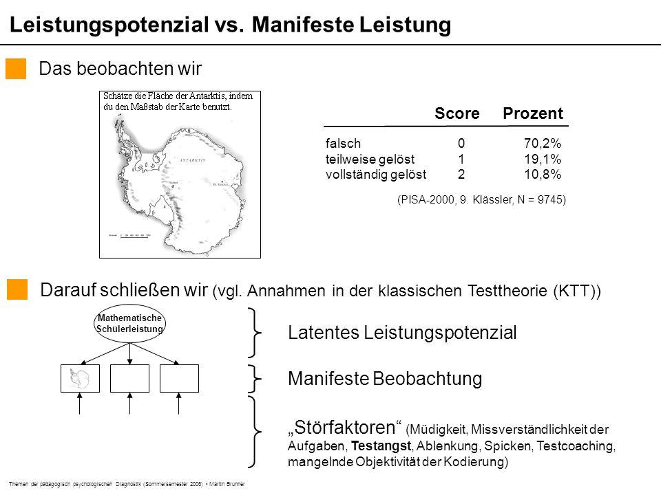 """Themen der pädagogisch psychologischen Diagnostik (Sommersemester 2006) Martin Brunner Wesentliche Konstruktionsschritte """"Test-Blueprint : Inhalt, Art und Umfang (z.B."""