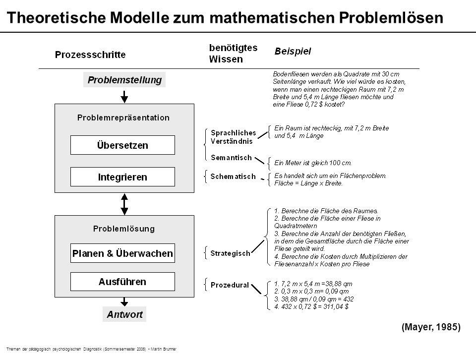 Themen der pädagogisch psychologischen Diagnostik (Sommersemester 2006) Martin Brunner Theoretische Modelle zum mathematischen Problemlösen (Mayer, 1985)