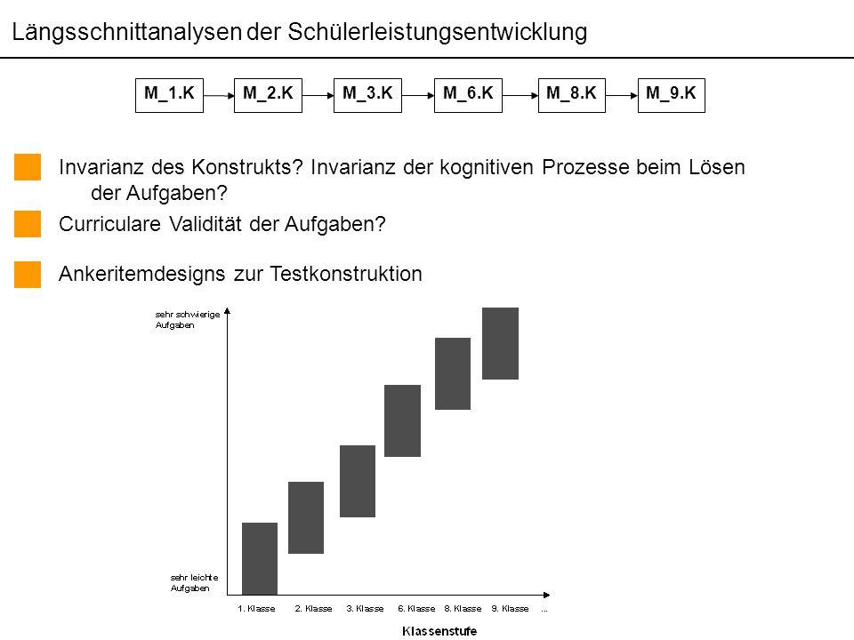 Themen der pädagogisch psychologischen Diagnostik (Sommersemester 2006) Martin Brunner Längsschnittanalysen der Schülerleistungsentwicklung Invarianz des Konstrukts.