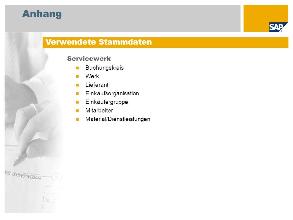 Anhang Servicewerk Buchungskreis Werk Lieferant Einkaufsorganisation Einkäufergruppe Mitarbeiter Material/Dienstleistungen Verwendete Stammdaten