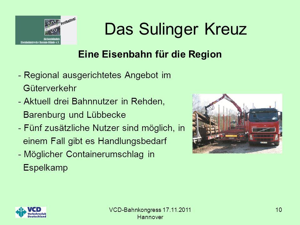 VCD-Bahnkongress 17.11.2011 Hannover 10 Das Sulinger Kreuz Eine Eisenbahn für die Region - Regional ausgerichtetes Angebot im Güterverkehr - Aktuell d