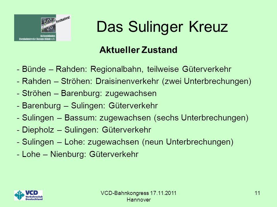 VCD-Bahnkongress 17.11.2011 Hannover 11 Das Sulinger Kreuz Aktueller Zustand - Bünde – Rahden: Regionalbahn, teilweise Güterverkehr - Rahden – Ströhen