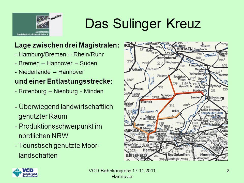 VCD-Bahnkongress 17.11.2011 Hannover 2 Das Sulinger Kreuz Lage zwischen drei Magistralen: - Hamburg/Bremen – Rhein/Ruhr - Bremen – Hannover – Süden -