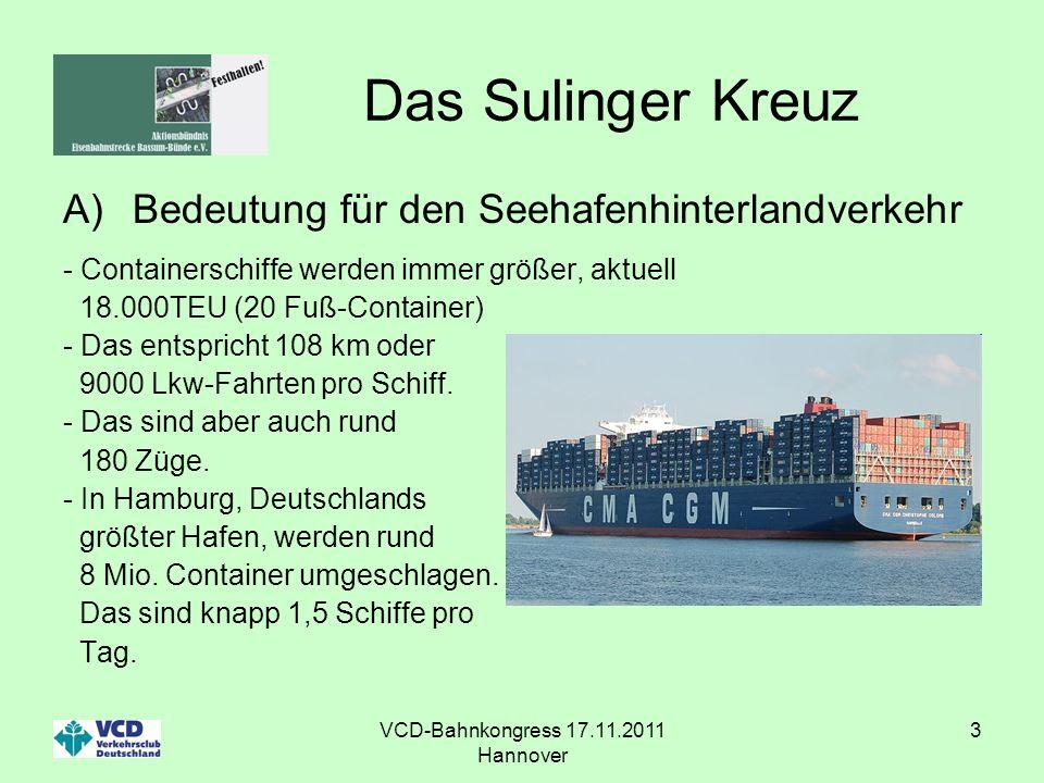 VCD-Bahnkongress 17.11.2011 Hannover 3 Das Sulinger Kreuz A)Bedeutung für den Seehafenhinterlandverkehr - Containerschiffe werden immer größer, aktuel
