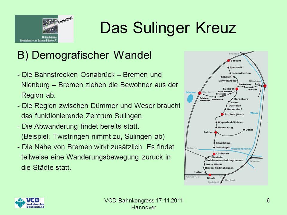 VCD-Bahnkongress 17.11.2011 Hannover 6 Das Sulinger Kreuz B) Demografischer Wandel - Die Bahnstrecken Osnabrück – Bremen und Nienburg – Bremen ziehen