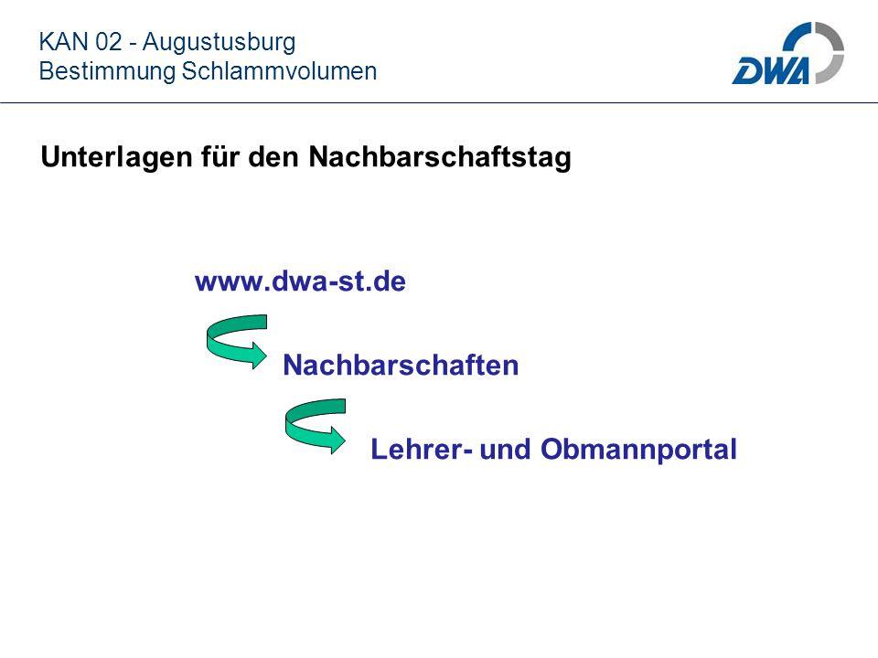 KAN 02 - Augustusburg Bestimmung Schlammvolumen Unterlagen für den Nachbarschaftstag www.dwa-st.de Nachbarschaften Lehrer- und Obmannportal