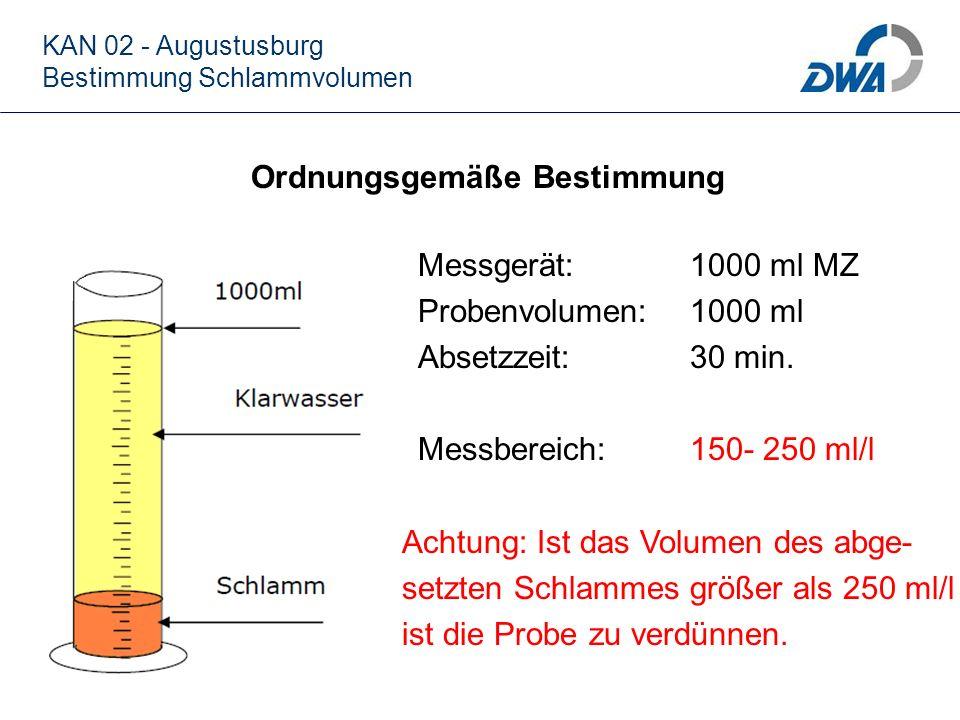 Verdünnung der Schlammprobe KAN 02 - Augustusburg Bestimmung Schlammvolumen Die Verdünnung der Schlammprobe erfolgt grundsätzlich mit Wasser aus der Nachklärung, folgende Verdünnungsansätze sind für die Bestimmung anzuwenden: 1 Teil Schlamm + 1 Teil Wasser (500 ml + 500 ml) = Faktor 2 1 Teil Schlamm + 2 Teil Wasser (333 ml + 667 ml) = Faktor 3 1 Teil Schlamm + 3 Teil Wasser (250 ml + 750 ml) = Faktor 4 1 Teil Schlamm + 4 Teil Wasser (200 ml + 800 ml) = Faktor 5 Der abgelesene Wert ist mit dem Faktor zu multiplizieren.