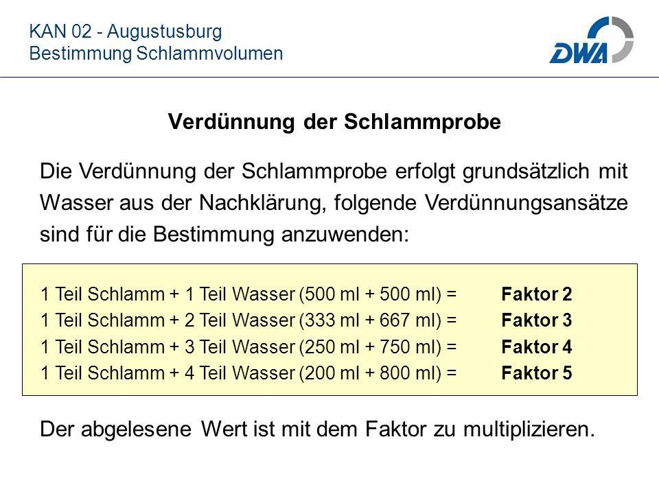 Verdünnung der Schlammprobe KAN 02 - Augustusburg Bestimmung Schlammvolumen Die Verdünnung der Schlammprobe erfolgt grundsätzlich mit Wasser aus der N