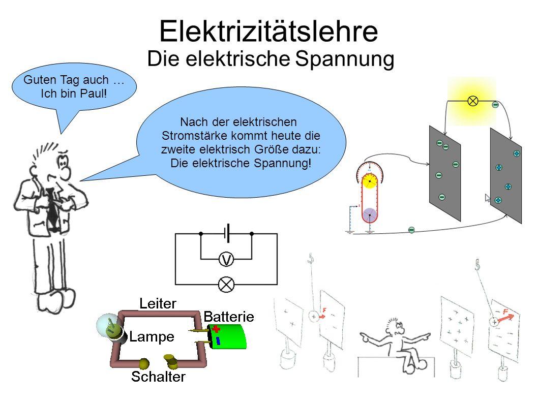 Elektrizitätslehre Die elektrische Spannung Guten Tag auch … Ich bin Paul! Nach der elektrischen Stromstärke kommt heute die zweite elektrisch Größe d