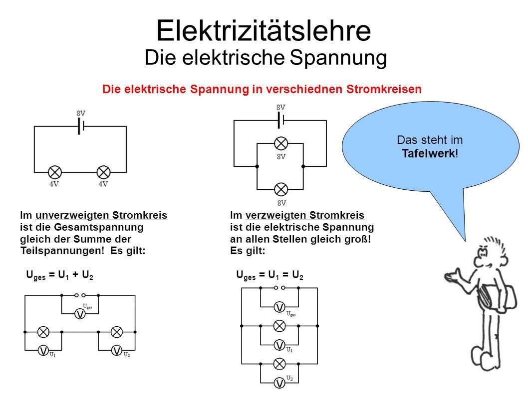 Elektrizitätslehre Die elektrische Spannung Die elektrische Spannung in verschiednen Stromkreisen Im unverzweigten Stromkreis ist die Gesamtspannung g