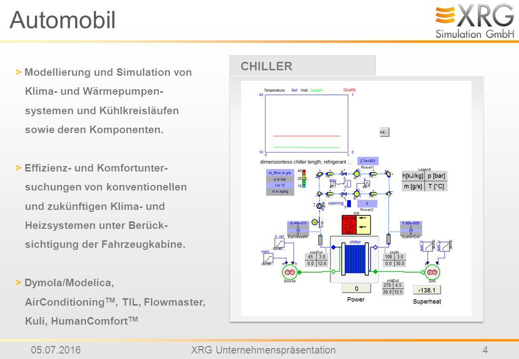 05.07.2016XRG Unternehmenspräsentation4 Automobil CHILLER > Modellierung und Simulation von Klima- und Wärmepumpen- systemen und Kühlkreisläufen sowie deren Komponenten.