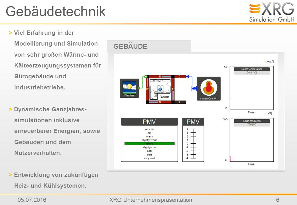 05.07.2016XRG Unternehmenspräsentation6 Gebäudetechnik > Viel Erfahrung in der Modellierung und Simulation von sehr großen Wärme- und Kälteerzeugungssystemen für Bürogebäude und Industriebetriebe.