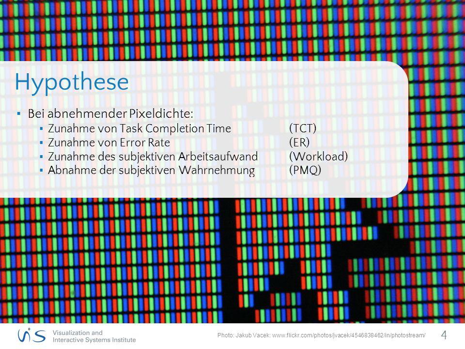 ▪ Bei abnehmender Pixeldichte: ▪ Zunahme von Task Completion Time (TCT) ▪ Zunahme von Error Rate (ER) ▪ Zunahme des subjektiven Arbeitsaufwand(Workload) ▪ Abnahme der subjektiven Wahrnehmung(PMQ) 4 Hypothese Photo: Jakub Vacek: www.flickr.com/photos/jvacek/4546838462/in/photostream/