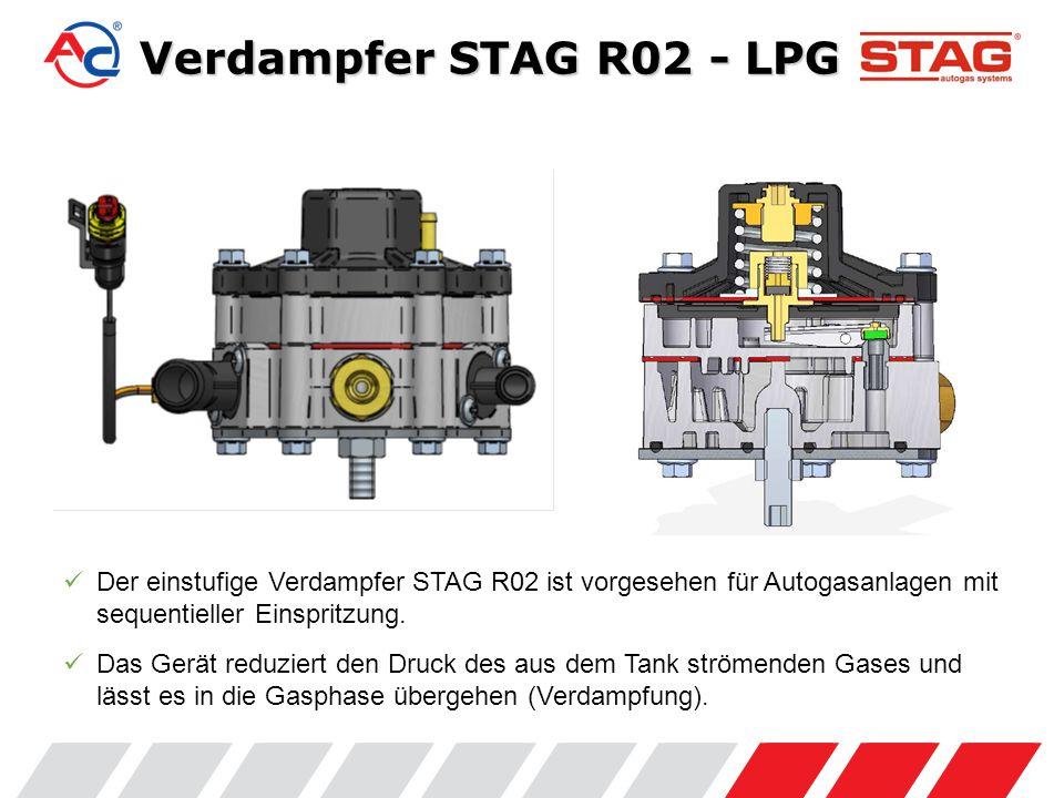 Der einstufige Verdampfer STAG R02 ist vorgesehen für Autogasanlagen mit sequentieller Einspritzung.