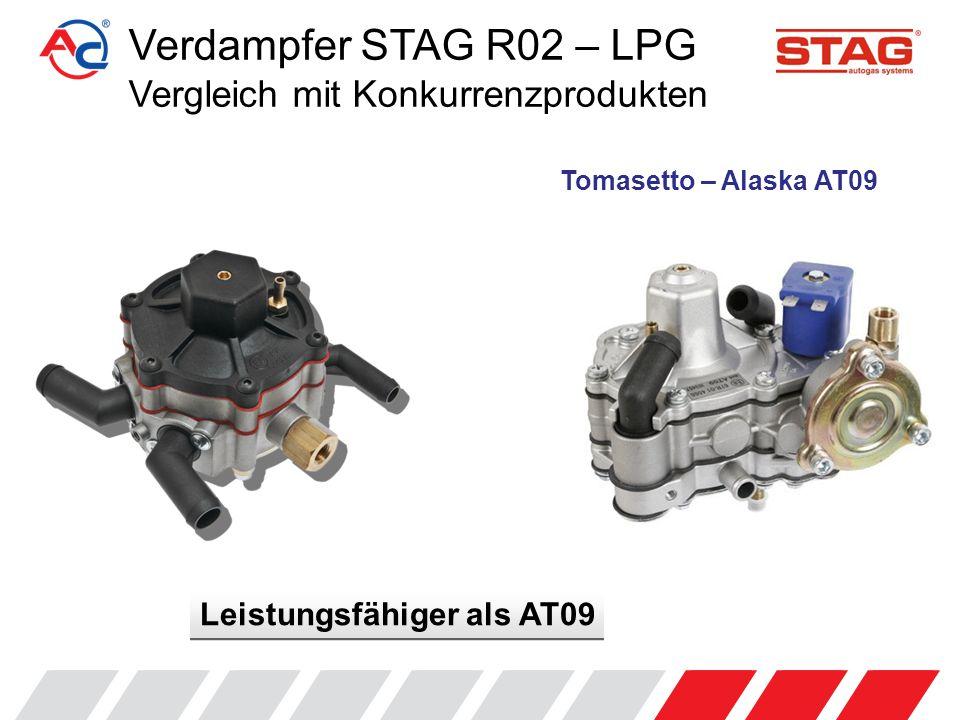 Verdampfer STAG R02 – LPG Vergleich mit Konkurrenzprodukten Leistung lt.