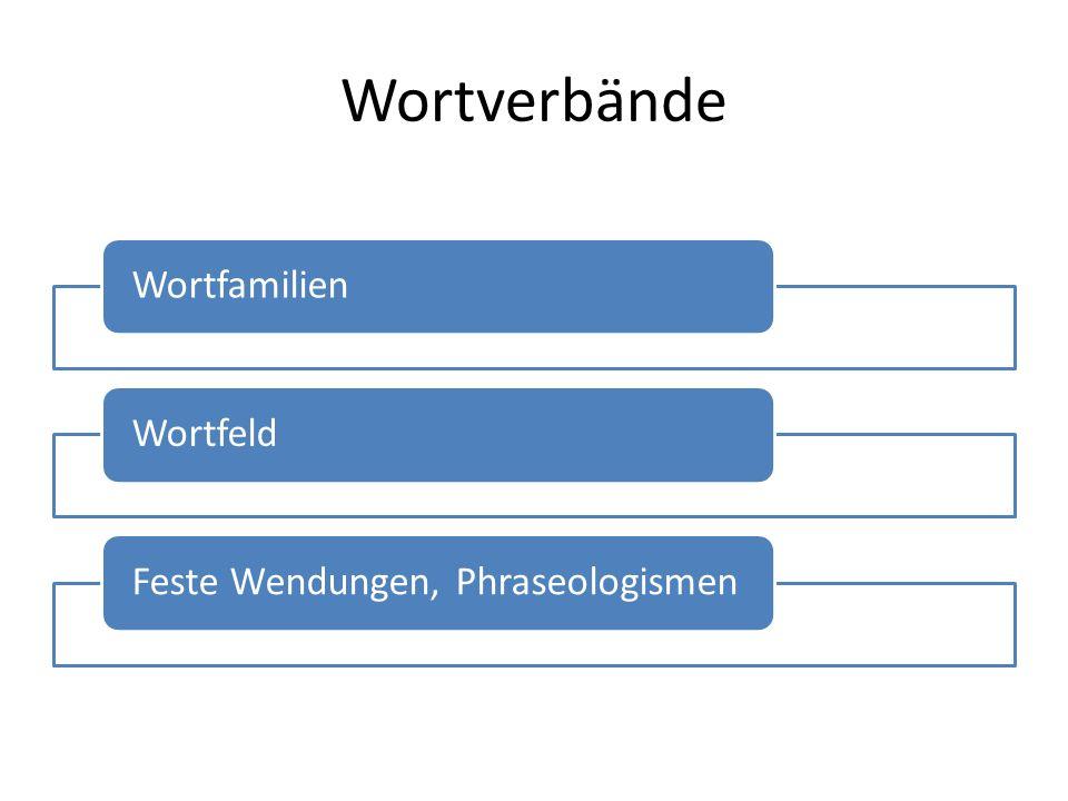 Wortverbände WortfamilienWortfeldFeste Wendungen, Phraseologismen